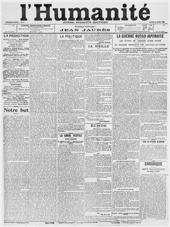 Front Page, First Issue of the Newspaper 'L'Humanite', 18th April 1904