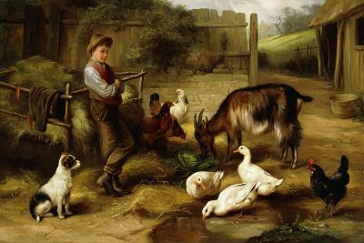 A Boy with Poultry and a Goat in a Farmyard, 1903