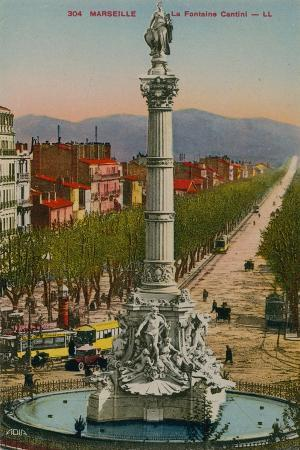 La Fontaine Cantini in Marseille. Built by Sculptor Andre Allar. Postcard Sent in 1913