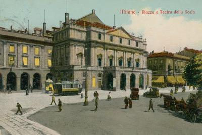 Milan - Piazza and Teatro Alla Scala. Postcard Sent in 1913
