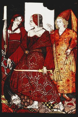 Queens Who Cut the Hogs of Glanna...'. 'Queens', Nine Glass Panels Acided, Stained and Painted,…