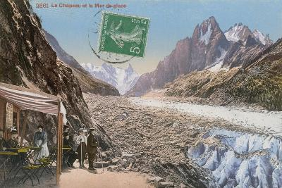 Le Chapeau and the Mer de Glace in the Alps. Postcard Sent in 1913