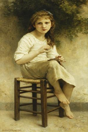 Idle Thoughts (Little Girl Sitting Embroidering); Vaines Pensees (Petite Fille Assise Brodant),…