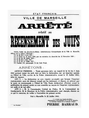 Decree Concerning the Census of Jews in Marseille, 22 July, 1941