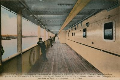 Le Havre - Interior of SS France, Ocean Liner Owned by Compagnie Generale Transatlantique.…