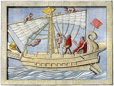 Roman Sailors Hoisting Sail, From Art on a Tomb at Pompeii
