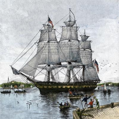 """USS """"Constitution"""" Being Towed Out of Boston Harbor, 1812"""