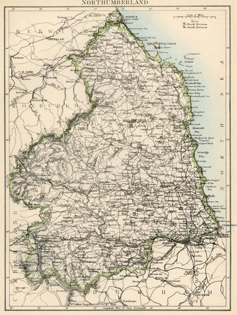 Map of Northumberland, England, 1870s