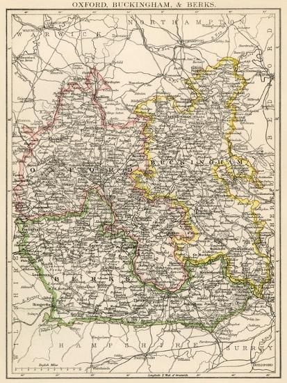 Map Of Oxfordshire Buckinghamshire And Berkshire England 1870s