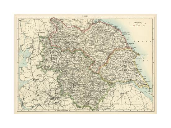 Map Of Yorkshire England 1870s Giclee Print At Allposters Com