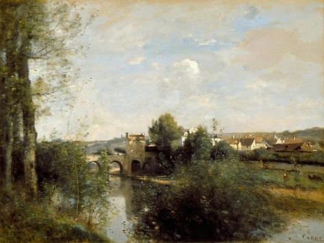 Jean Corot Seine and Old Bridge at Limay Giclee Paper Print Poster