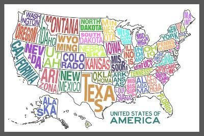 United States of America Stylized Text Map Colorful Plastic Sign