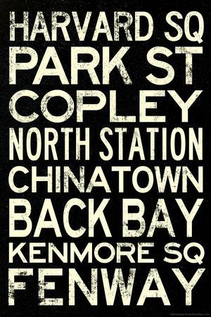 Boston MBTA Stations Vintage Subway RetroMetro Travel Plastic Sign