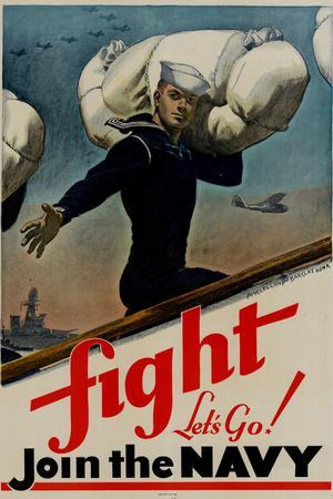 Fight Let's Go Join the Navy WWII War Propaganda Print Plastic Sign