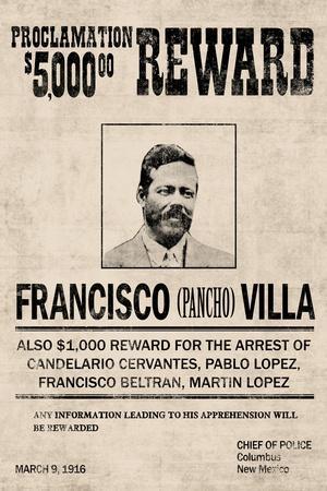 Pancho Villa Wanted Sign Plastic Sign
