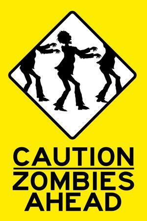 Caution Zombies Ahead Sign Plastic Sign
