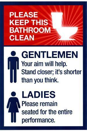 Clean Bathrooms Ladies Gentlemen Sign Print Plastic Sign