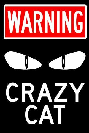 Warning Crazy Cat Plastic Sign
