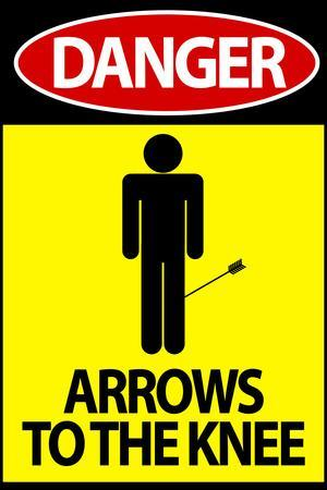 Danger - Arrows To The Knee Video Game Plastic Sign