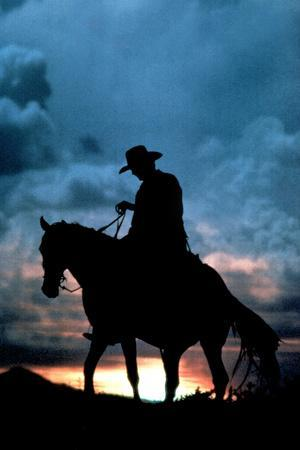Cowboy Silhouette in Sunset Print Plastic Sign