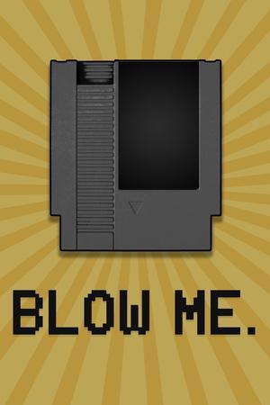 8-Bit Video Game Cartridge Blow Me Plastic Sign