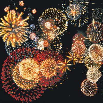Exploding of Group of Fireworks