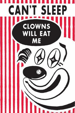 Can't Sleep Clowns Will Eat Me Funny Plastic Sign
