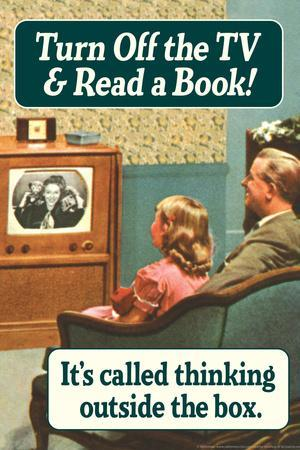 Turn Off TV Read A Book Thinking Outside The Box Funny Plastic Sign