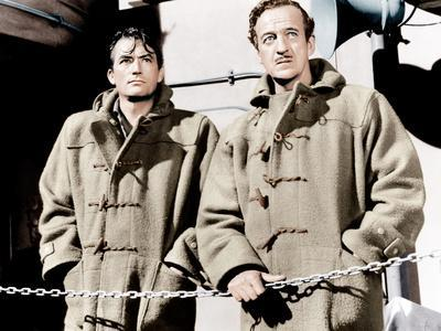 THE GUNS OF NAVARONE, from left: Gregory Peck, David Niven, 1961