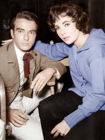 Raintree County, Montgomery Clift, Elizabeth Taylor, on set, 1957