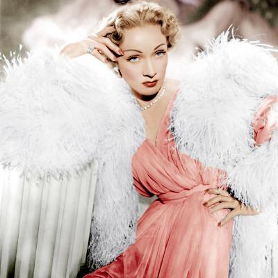 STAGE FRIGHT, Marlene Dietrich wearing a Christian Dior design, 1950