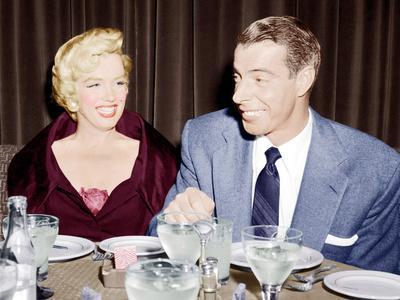 Marilyn Monroe with her second husband, Joe DiMaggio, 1954