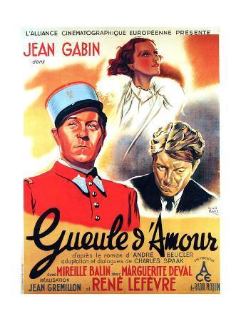 GUEULE D'AMOUR, French poster art, from left: Jean Gabin, Mireille Balin, Jean Gabin, 1937