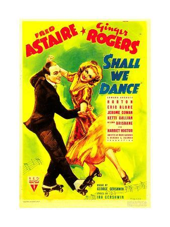 SHALL WE DANCE?, from left: Fred Astaire, Ginger Rogers on midget window card, 1937