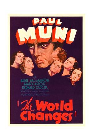THE WORLD CHANGES, center: Paul Muni on midget window card, 1933.