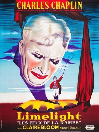 LIMELIGHT (aka LIMELIGHT LES FEUX DE LA RAMPE), French poster art, Charles Chaplin, 1952
