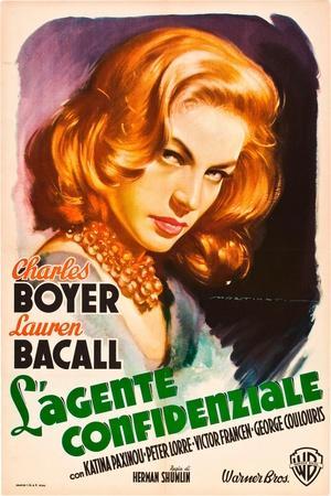 Confidential Agent (aka L'Agente Confidenziale), Lauren Bacall, Italian poster art, 1945
