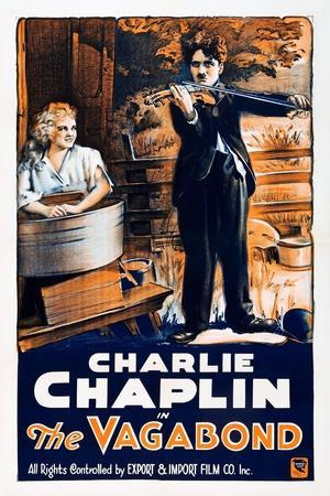THE VAGABOND, from left: Edna Purviance, Charlie Chaplin, 1916