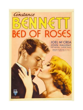 BED OF ROSES, from left: Joel McCrea, Constance Bennett on midget window card, 1933.