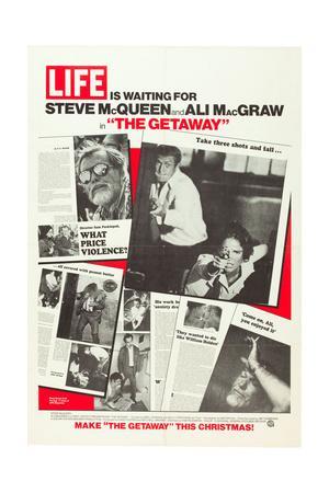 THE GETAWAY, l-r: Sam Peckinpah, Steve McQueen, Ali MacGraw on US advance poster art, 1972
