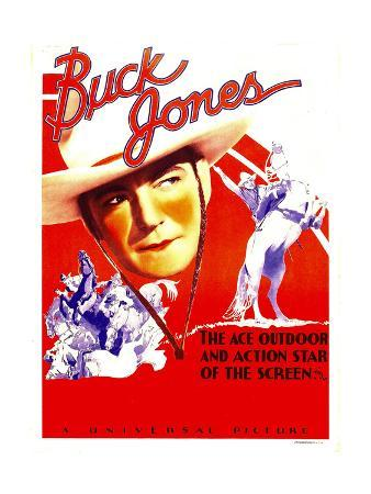 Buck Jones on stock window card, 1936