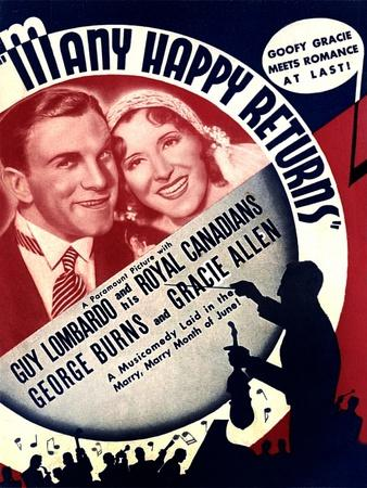MANY HAPPY RETURNS, US ad art, from left: George Burns, Gracie Allen, Guy Lombardo, 1934