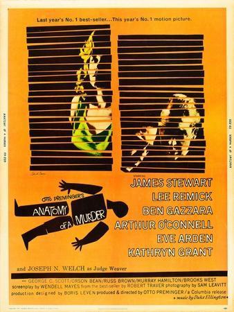 Anatomy of a Murder, Lee Remick, James Stewart on U.S. poster art, 1959