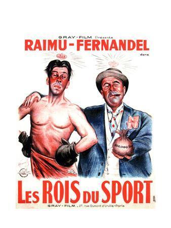 LES ROIS DU SPORT, French poster art, from left: Fernandel, Raimu, 1937