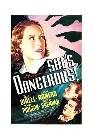 SHE'S DANGEROUS!, US poster art, from top: Tala Birell, Walter Pidgeon, Cesar Romero, 1937