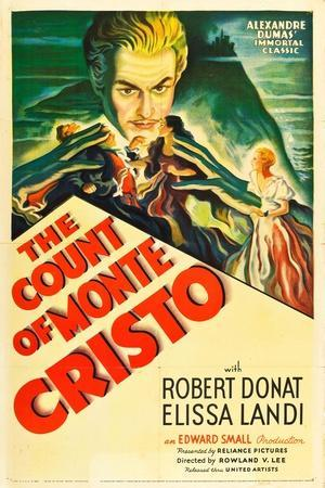 THE COUNT OF MONTE CRISTO, Robert Donat on US psoter art, 1934.