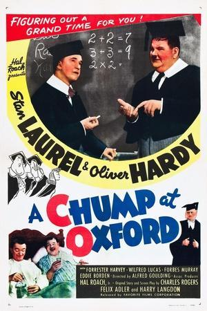 A Chump at Oxford, Stan Laurel, Oliver Hardy on poster art, 1940