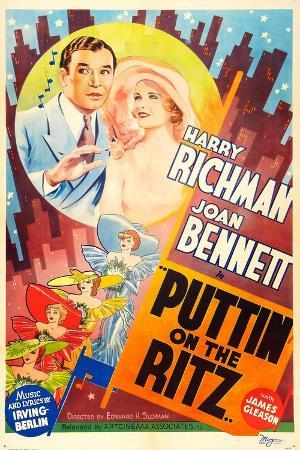 PUTTIN' ON THE RITZ, US re-release poster art, from left: Harry Richman, Joan Bennett, 1930