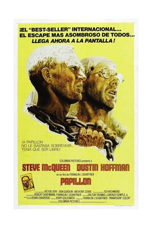 PAPILLON, Spanish language poster, from left: Steve McQueen, Dustin Hoffman, 1973