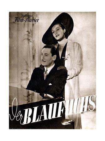 The Blue Fox, (aka Der Blaufuchs), German poster, Willy Birgel, Zarah Leander, 1938